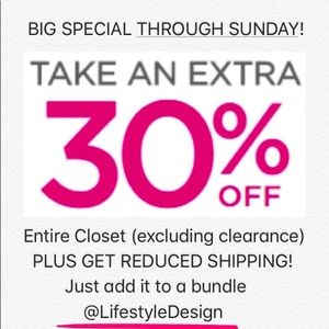 30% off (except clearance) @LifestyleDesign